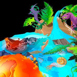 Imagen de dinosaurio y océano
